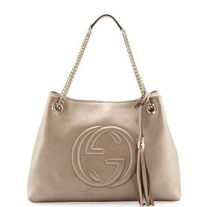 Gucci Bags - Gucci Soho Metallic Leather Tote Bag